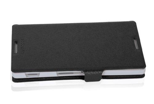 Cadorabo - Funda Book Style en Diseño FINO para Sony Xperia C (S39h) - Etui Case Cover Carcasa Caja Protección con Tarjetero y Función de Soporte en NEGRO NEGRO