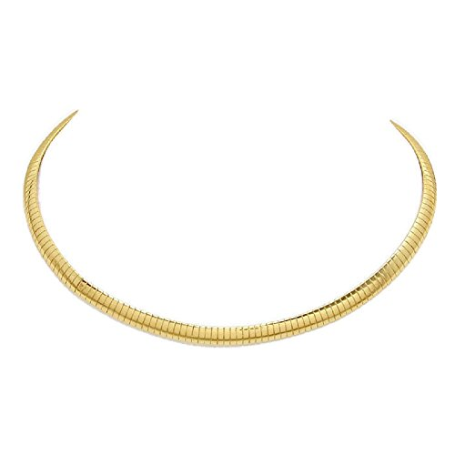 Gold Plated Omega Chain Necklace Choker 4mm-8mm Width,Length 16