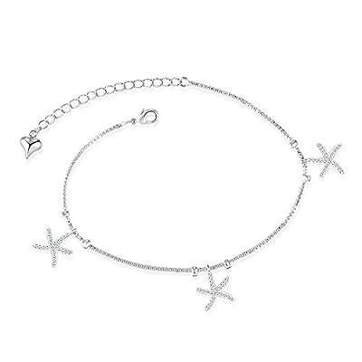 "LOHOME Fashion Anklets Silver/Gold Tone Starfish Tassel Rhinestone Charm Foot Chain for Women L8.1+1.9"""