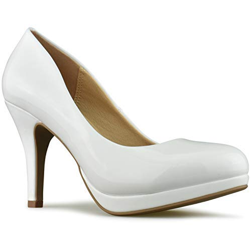 - Premier Standard - Women's New Classic Elegant Versatile Low Stiletto Heel Dress Platform Pumps Shoes, TPS2019100094 FBU White Pat Size 11
