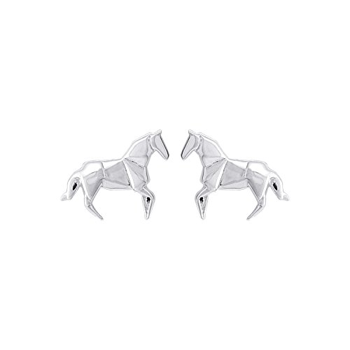 Boma Jewelry Sterling Silver Origami Horse Stud Earrings from Boma
