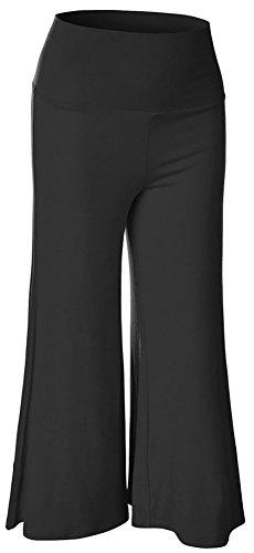 Negro Alto Palazzo La Culotte Yoga Para Lily Y Pierna Diseño De Falda Pantalones pantalón Talle En Mujer Happy xgxBvnT