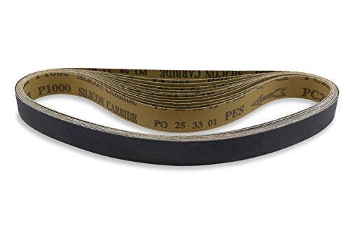 Cinturones de lija de carburo de silicio premium de 30 pulgadas – 180, 220, 320, 400, 600, 800 grano – 12 unidades...