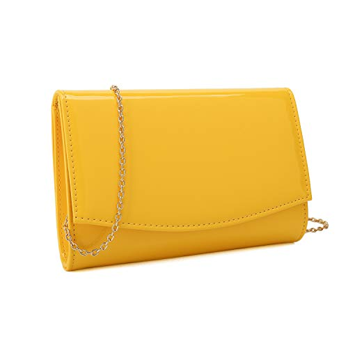 Charming Tailor Patent Leather Flap Clutch Classic Elegant Evening Bag Chic Dress Purse (Yellow)