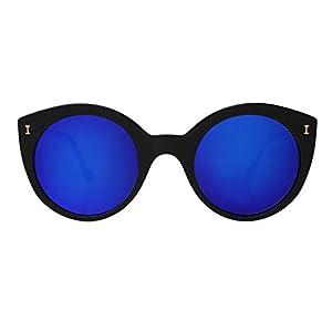ILLESTEVA Palm Beach Designer Sunglasses, Mirrored, Non-Polarized Women's Sunglasses (Black, Violet)