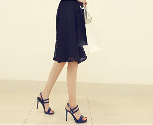 Liangxie Hebilla Mano Sandalias Peeps Tacones De Agua Prueba High Coreana Moda Señora Ultimate Heels La Hechas Shoes Altos Azul Fish Zapatos Con A Salvaje Peces Versión Plataforma aSqrwfPx8a