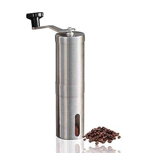 Manual Coffee Grinder - Hand Grinder Coffee Mill - Conical Ceramic Burr Mill for Precision Brewing Stainless Steel for Office, Home, Traveling Camping