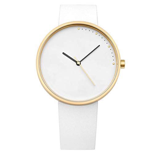 (Abstrait LA Crescent Minimalistic Unisex Watch (White/Gold))