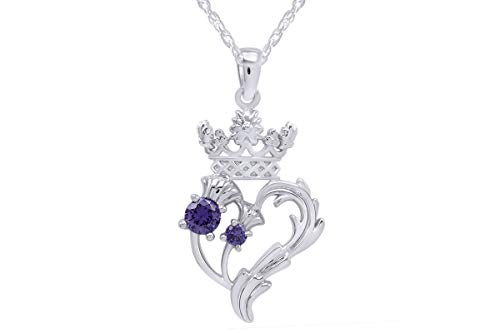 - AFFY Luckenbooth (Scottish Symbol of Love) Thistle Heart Crown Simulated Amethyst Pendant Sterling Silver