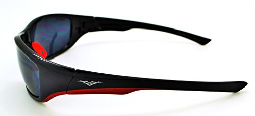 Vertx léger durable pour homme et pour femme Athletic Sport Lunettes de soleil de cyclisme Course à Pied W/étui microfibre gratuit Black/Red Frame - Smoke Lens