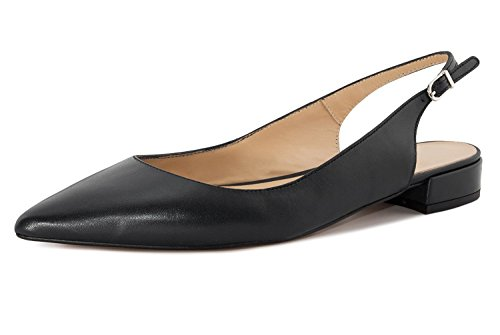 Soireelady Women's Slingback Low Heel Pumps Shoes Pointed Toe Ankle Strap 2cm Block Heel Summer Pumps Black (Slingback Dress Heels)