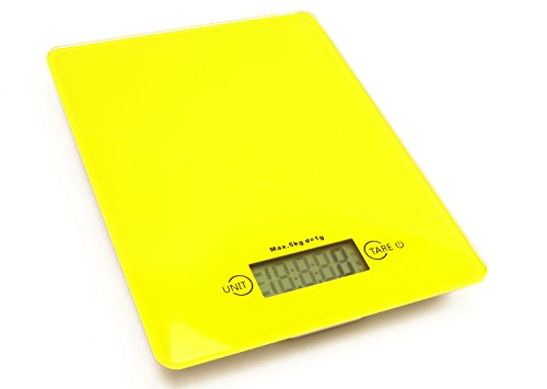 Looking Glass Professional Digital Kitchen Scale (12 lbs Edition), Tempered Glass in Dazzling Yellow