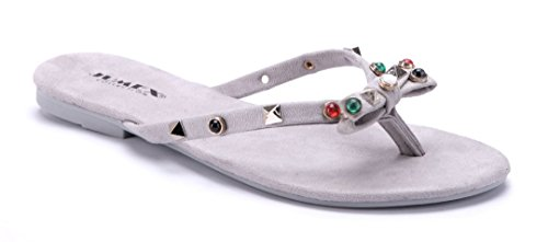 Schuhtempel24 Damen Schuhe Zehentrenner Sandalen Sandaletten Weiß Flach Nieten/Ziersteine cCJQQONTX