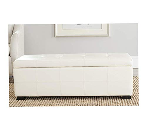 - Wood & Style NoHo Tufted Cream Leather Large Storage Bench Decor Comfy Living Furniture Deluxe Premium Collection