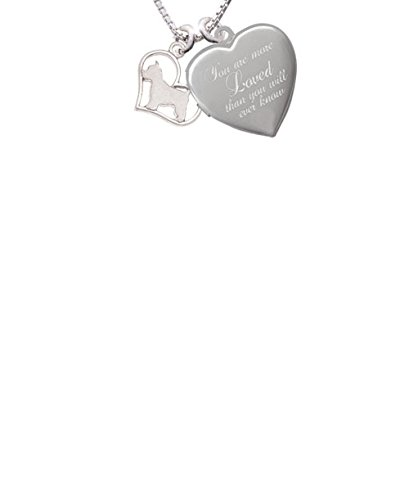 Westie Silhouette Heart Custom Engraved You are more Loved Heart Locket Necklace
