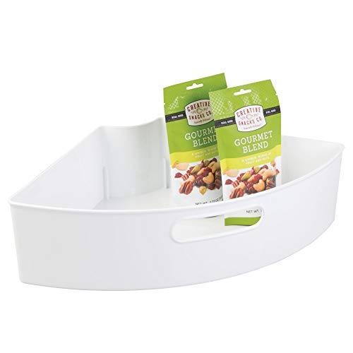 InterDesign Plastic Lazy Susan Cabinet Storage Bin, 1/4 Wedge Container for Kitchen, Pantry, Counter, BPA-Free, 16.5