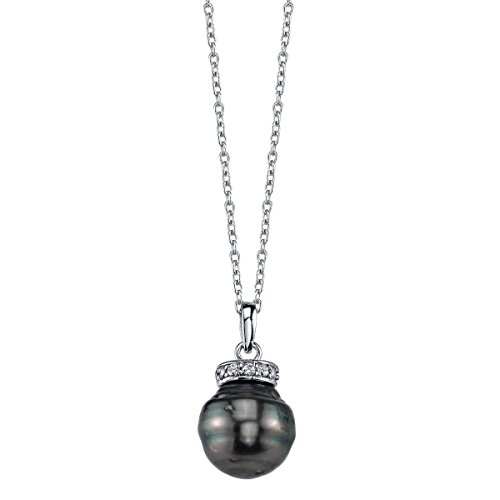10mm Tahitian South Sea Cultured Pearl & Crystal Ronda Pendant Silver Tahitian Cultured Pearl