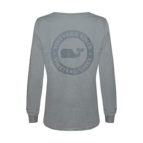 Vineyard Vines Women's Long Sleeve Pocket Signature Graphic T-Shirt (Grey Dot Barracuda, ()