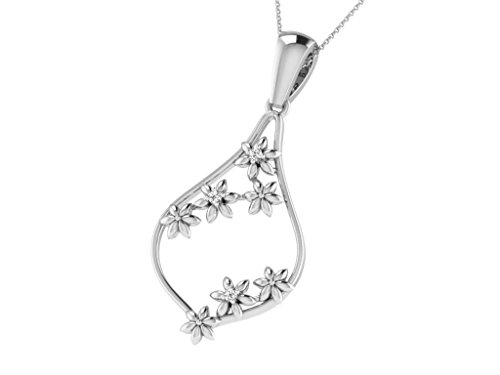 Or Blanc 9 ct Pendentifs Diamant en forme de Feuille, 0.12 Ct Diamant, GH-SI, 1.34 grammes.