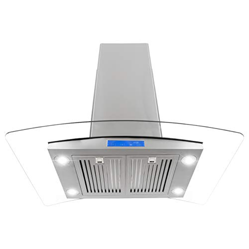 - Cosmo 668ICS900 36-in Kitchen Ceiling Island Mount Range Hood 900-CFM with Chimney, LED Lights, Permanent Filters, and Convertible Duct in Stainless Steel