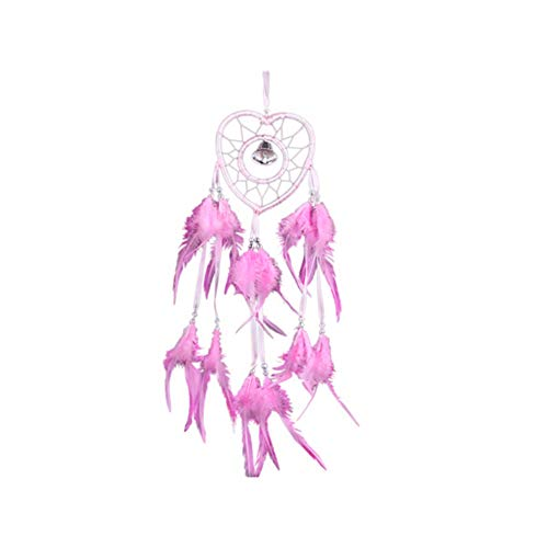 Hieefi 1PC Heart Shape Romantic Peacock Feather Ornament Pendant Dream Catcher Handmade Dream Catcher Net With Feathers Beads Wind Chimes Wall Hanging Decoration (Pink)