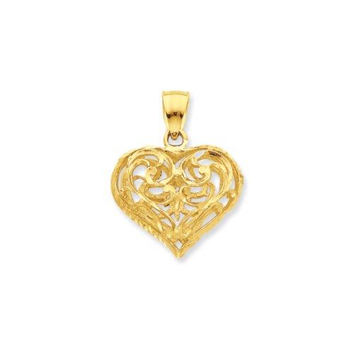14k Gold 3d Filigree - 14k Yellow Gold Diamond Cut Puffed Heart Pendant, 22mm