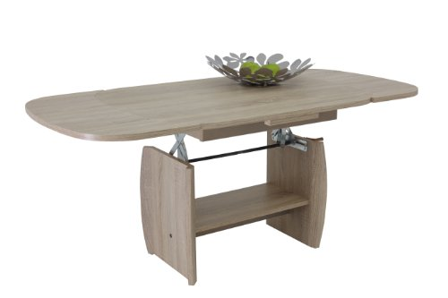 Mesa de Centro Apollo Michael III, Madera de Roble, Extensible, Altura Regulable