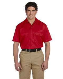 Dickies Men's Short Sleeve Workshirt in Red - - Work Blend Shirt