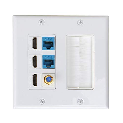 Brush Wall Plate 2gang, PHIZLI 3 HDMI Keystone Cat 6 Keystone Coax Cable TV F Type Wall Plate Female-Female Combination Faceplate