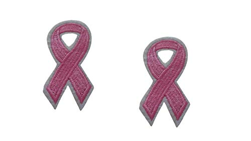 2 Pieces Pink Ribbon Iron On Patch Scrapbooking Applique Awareness Breast Cancer Support Ribbon Motif Symbol Decal 2.5 x 1.3 inches (6.35 x 3.3 cm)