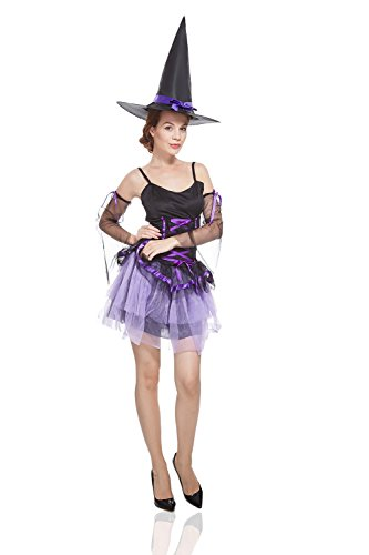 Vampira Sexi Costume (Adult Women Wicked Witch Costume Halloween Cosplay Role Play Sorceress Dress Up (Small/Medium, Black, Purple,)