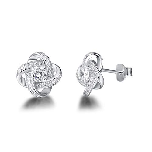 FANCIME White Gold Plated Real Sterling Silver Hypoallergenic Stunning Cubic Zirconia CZs Big/Large Daith Flower Knot Studs Earrings For Women Girls Wedding Bridal,Size 12mm