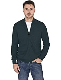 Men's Wool Cashmere Classic Knit Soft Full-Zip Mock Neck Pullover Sweater