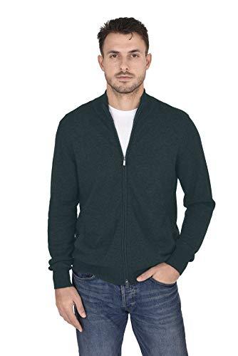 Cashmeren Men's Wool Cashmere Classic Knit Soft Full-Zip Mock Neck Pullover Sweater (Moss, Medium) ()