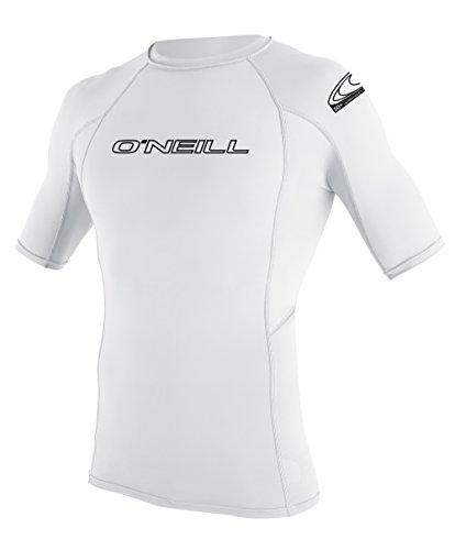 O'Neill  UV Sun Protection Youth Basic Skins Short Sleeve Crew Sun Shirt Rash Guard, White, 14 -