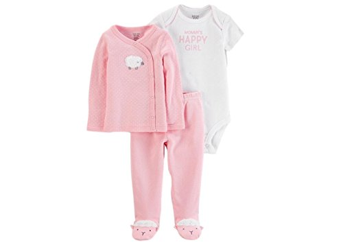 - Just One You by Carters Preemie Clothes for Girls 3 Pc Set Layette Set Bodysuit Cardigan Pant