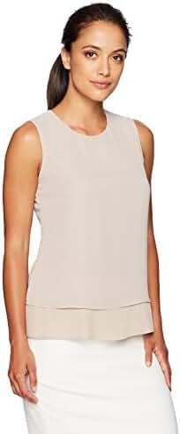 Calvin Klein Women's Petite Pleated Back Top