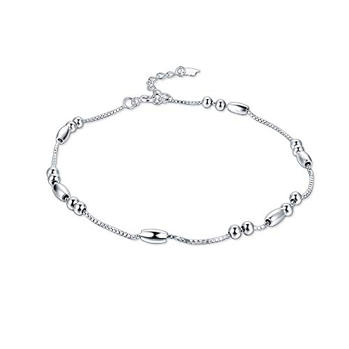 Minimalist Satellite Chain Anklet 925 Sterling Silver Triple Layered Chain Ball Beads Beach Foot Ankle Bracelet for Women Girls (Long Beads)
