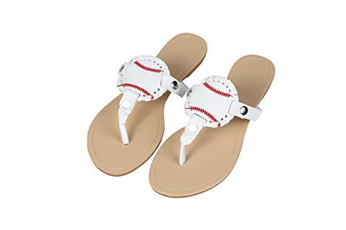 xinblueCo Baseball Flip Flopsfor Women Man Sport Sandals Beach Sport Disc Baseball Sandals Interchangable Flip Flops (Hard Size7, Hard White)