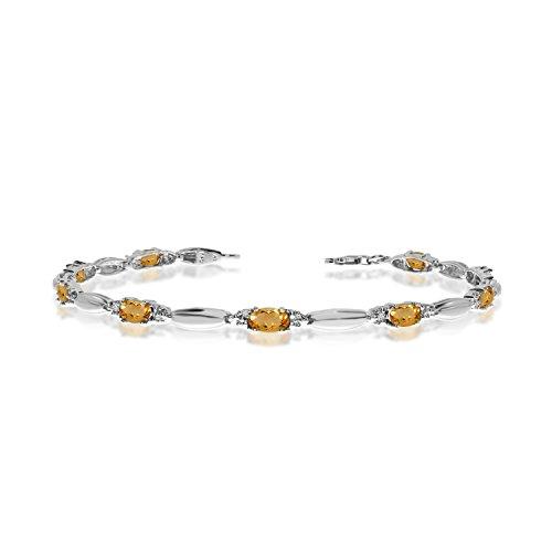 (2.07 Carat (ctw) 10k White Gold Oval Yellow Citrine and Diamond Tennis Bracelet - 7