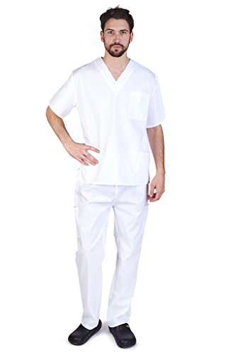 (NATURAL UNIFORMS Men's Scrub Set Medical Scrub Top and Pants S White)