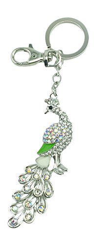 Kubla Craft Bejeweled Articulated Peacock Key Chain 6.5 Inches Long