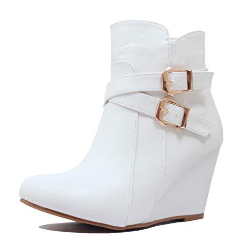 Guilty Heart | Womens Mid Heel Platform Zipper Wedge | Comfortable Ankle Bootie Boot White Pu