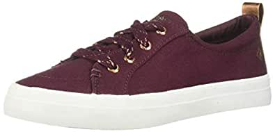 Sperry Women's Crest Vibe Canvas Sparkle Sneaker, Vineyard Wine, 5 M US