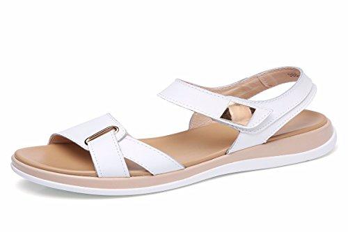 HBDLH Zapatos de Mujer/Zapatos De Cuero Zapatos De Primavera Bean Madre Maternidad Zapatos Casuales Zapatos Zapatos De Suela Plana Enfermera Zapatos.Treinta Y Siete Blanco Thirty-seven