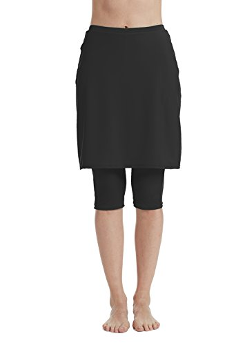 Aunua Women UPF 50+ Swimming Skirt with Legging UV Sun Protection Swim Skort Capris Shorts(9005 Black XL) -