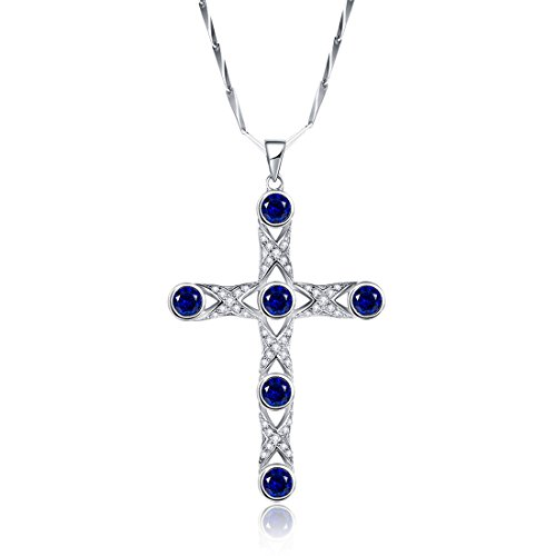 Merthus 925 Sterling Silver Created Blue Sapphire Cross Necklace for Women