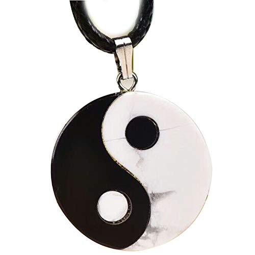 (Black White Natural Obsidian Stone Pendant Tai Chi Pendant Necklace Lucky Transport Women Men Simple Fashion Jewelry)