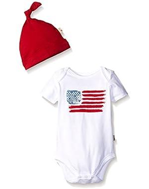 American Flag Organic Bodysuit and Hat Set