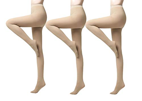 (Yulaixuan Womens 3 Pairs Pantyhose 120 Denier Full Length Reinforced Opaque Tights Nude Color Footed Stockings (3 Skin))